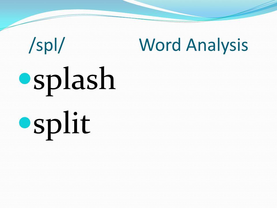 /spl/ Word Analysis splash split