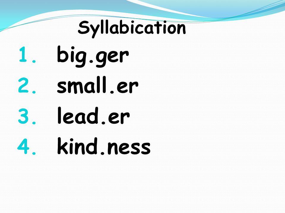Syllabication 1. big.ger 2. small.er 3. lead.er 4. kind.ness