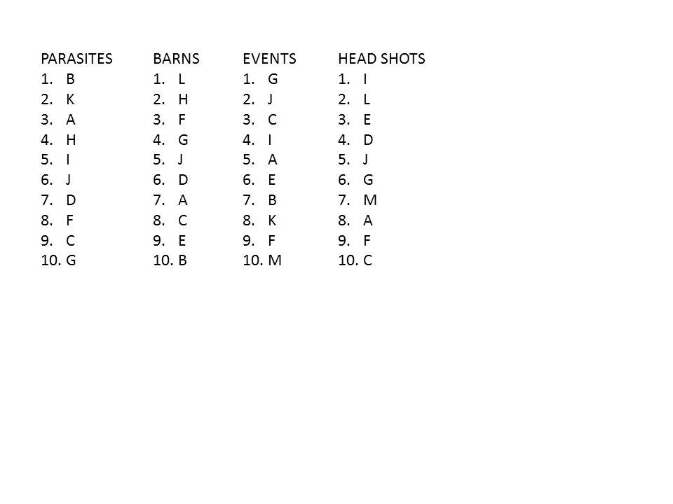BARNS 1.L 2.H 3.F 4.G 5.J 6.D 7.A 8.C 9.E 10.B PARASITES 1.B 2.K 3.A 4.H 5.I 6.J 7.D 8.F 9.C 10.G EVENTS 1.G 2.J 3.C 4.I 5.A 6.E 7.B 8.K 9.F 10.M HEAD SHOTS 1.I 2.L 3.E 4.D 5.J 6.G 7.M 8.A 9.F 10.C