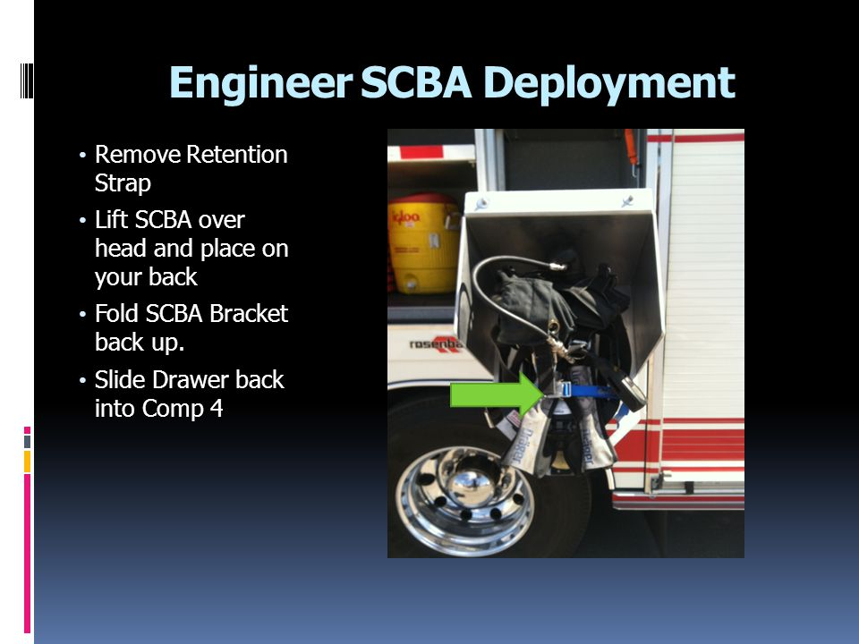 Stowing SCBA in Rosenbauer Engine Make sure all straps are folded up and contained inside storage box.