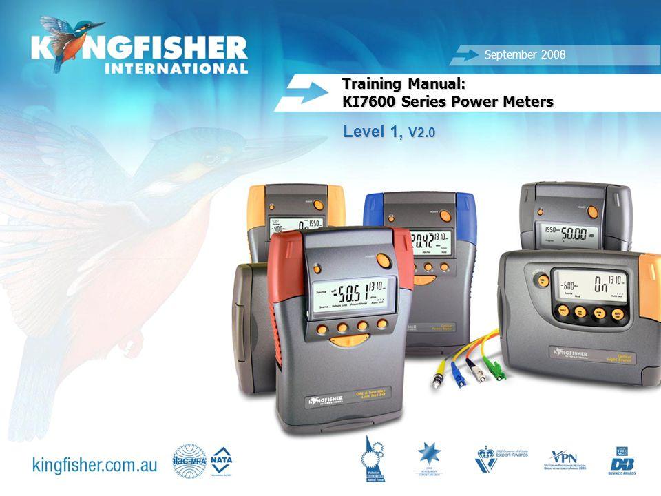 1 20080825 Training Manual: KI7600 Series Power Meters Level 1, V2.0 September 2008