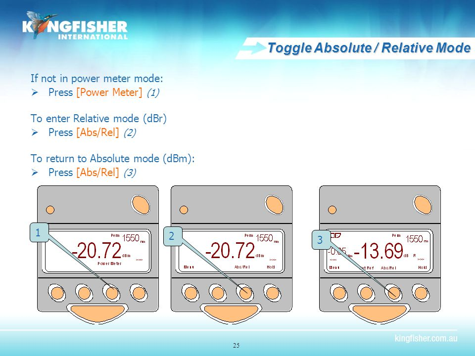 Toggle Absolute / Relative Mode If not in power meter mode:  Press [Power Meter] (1) To enter Relative mode (dBr)  Press [Abs/Rel] (2) To return to Absolute mode (dBm):  Press [Abs/Rel] (3) 1 2 3 25