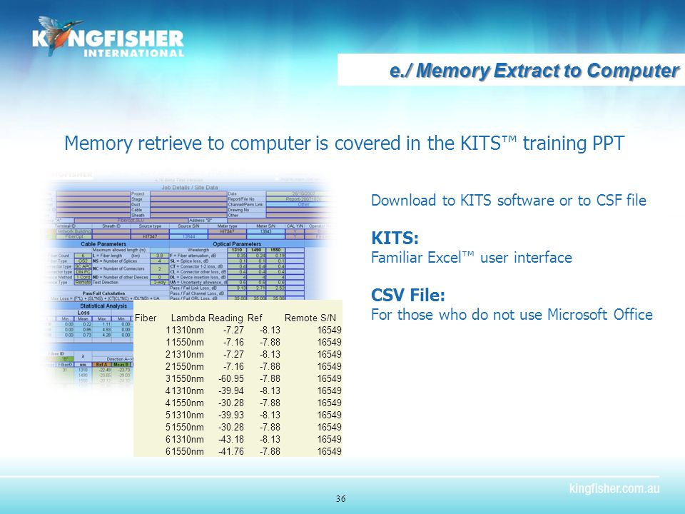 e./ Memory Extract to Computer 36 Memory retrieve to computer is covered in the KITS™ training PPT Download to KITS software or to CSF file KITS: Familiar Excel™ user interface CSV File: For those who do not use Microsoft Office Fiber Lambda Reading Ref Remote S/N 11310nm-7.27-8.1316549 11550nm-7.16-7.8816549 21310nm-7.27-8.1316549 21550nm-7.16-7.8816549 31550nm-60.95-7.8816549 41310nm-39.94-8.1316549 41550nm-30.28-7.8816549 51310nm-39.93-8.1316549 51550nm-30.28-7.8816549 61310nm-43.18-8.1316549 61550nm-41.76-7.8816549