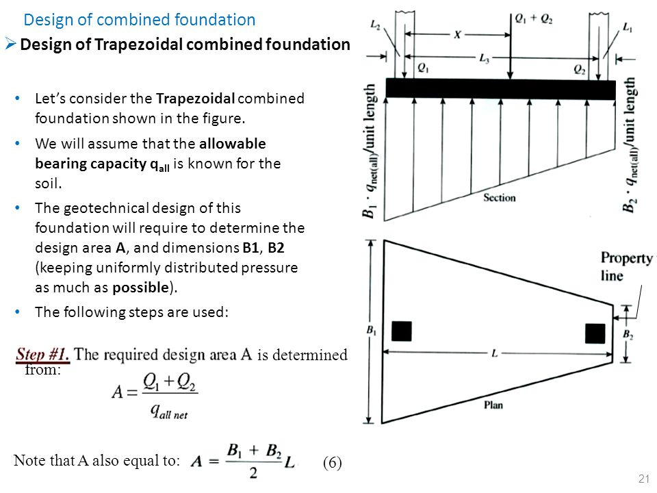 21  Design of Trapezoidal combined foundation Design of combined foundation Let's consider the Trapezoidal combined foundation shown in the figure. W