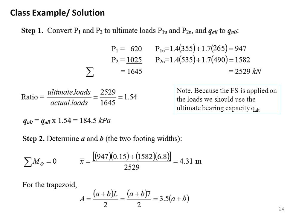 24 Class Example/ Solution Note. Because the FS is applied on the loads we should use the ultimate bearing capacity q ult