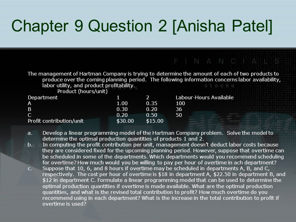 Chapter 9 Question 2 [Anisha Patel] The management of Hartman Company is trying to determine the amount of each of two products to produce over the co