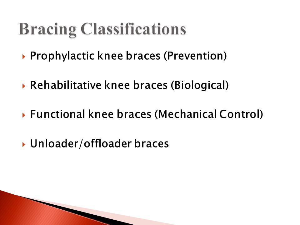  Prophylactic knee braces (Prevention)  Rehabilitative knee braces (Biological)  Functional knee braces (Mechanical Control)  Unloader/offloader braces
