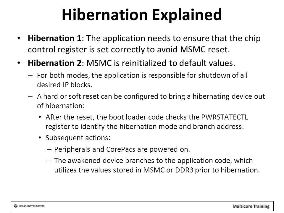 Hibernation Explained Hibernation 1: The application needs to ensure that the chip control register is set correctly to avoid MSMC reset. Hibernation