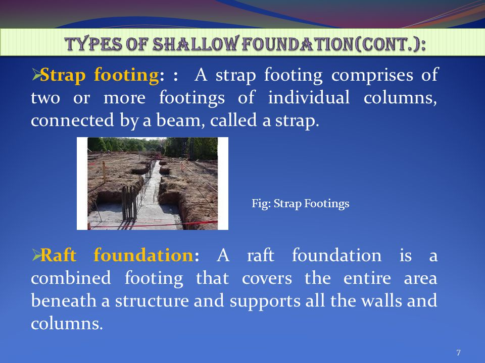  Strap footing: : A strap footing comprises of two or more footings of individual columns, connected by a beam, called a strap.
