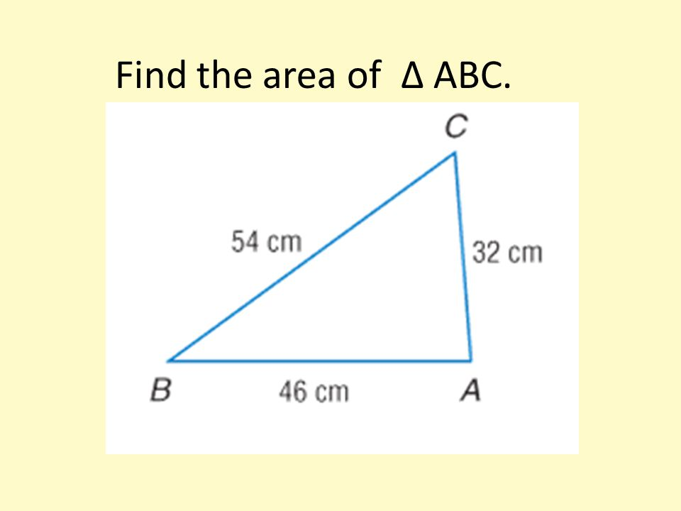 Find the area of ∆ ABC.