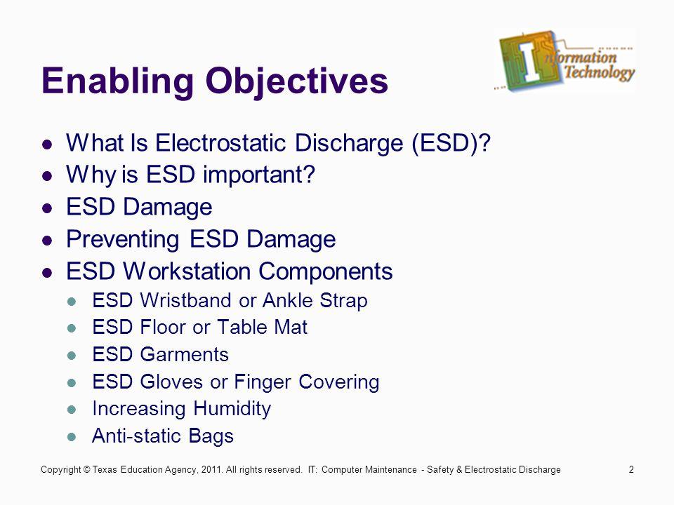 IT: Computer Maintenance - Safety & Electrostatic Discharge3 What Is Electrostatic Discharge (ESD).