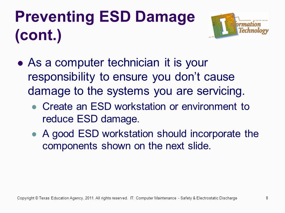IT: Computer Maintenance - Safety & Electrostatic Discharge19 Summary What Is Electrostatic Discharge (ESD).