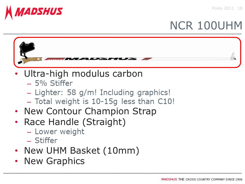 MADSHUS THE CROSS COUNTRY COMPANY SINCE 1906 Ultra-high modulus carbon – 5% Stiffer – Lighter: 58 g/m! Including graphics! – Total weight is 10-15g le