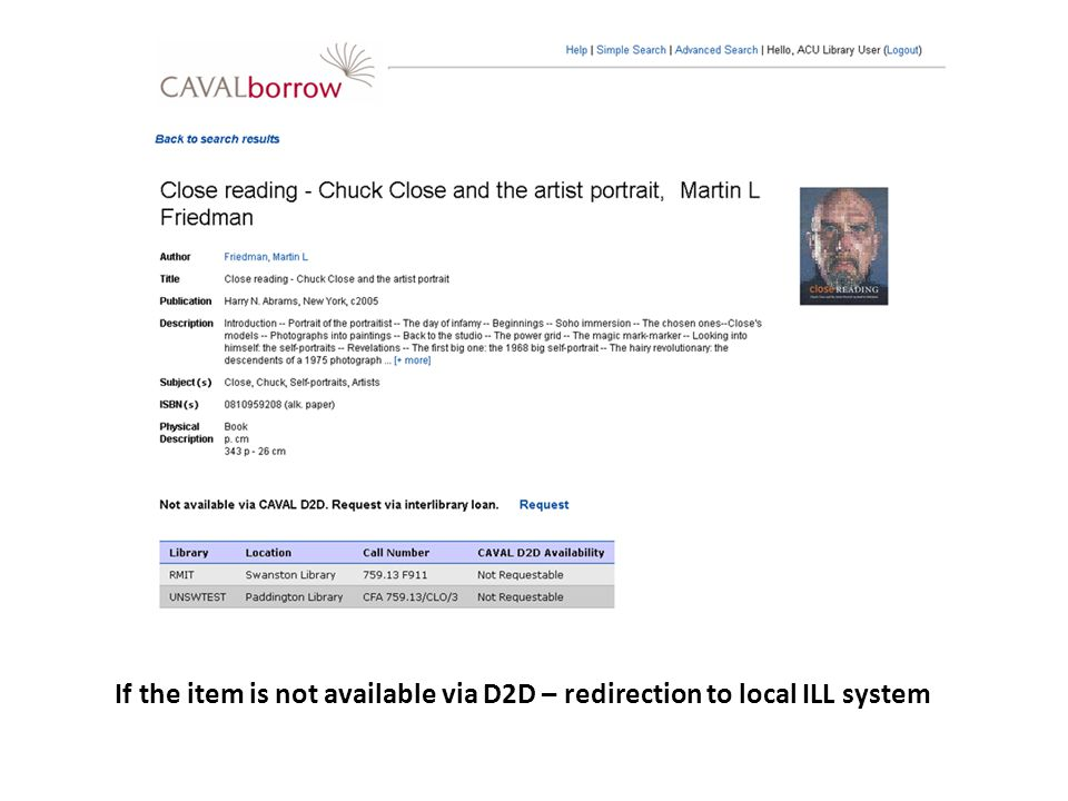 If the item is not available via D2D – redirection to local ILL system