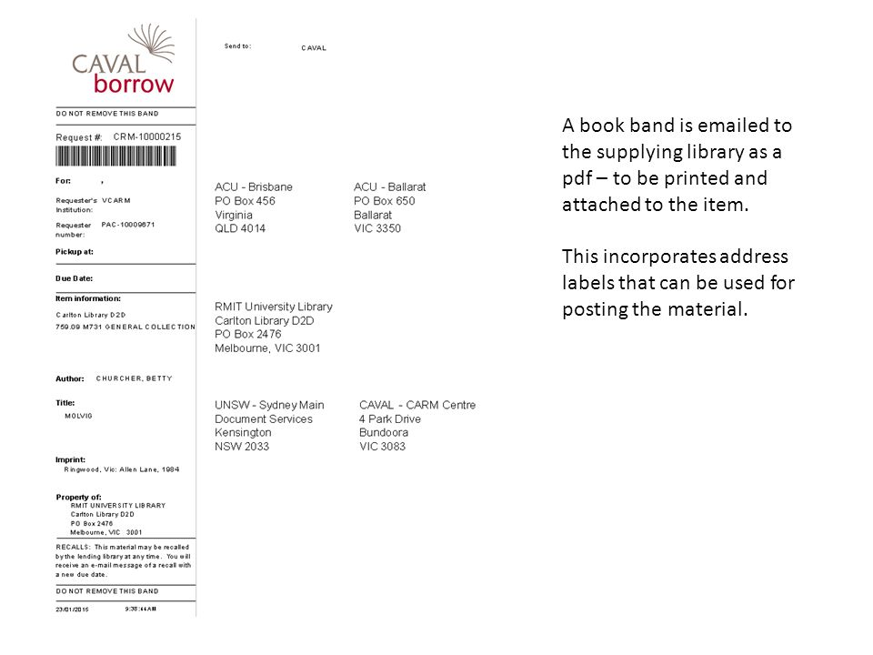 A book band is emailed to the supplying library as a pdf – to be printed and attached to the item.