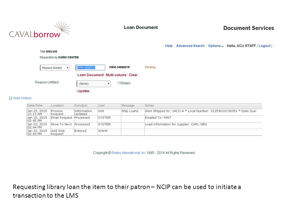 Requesting library loan the item to their patron – NCIP can be used to initiate a transaction to the LMS