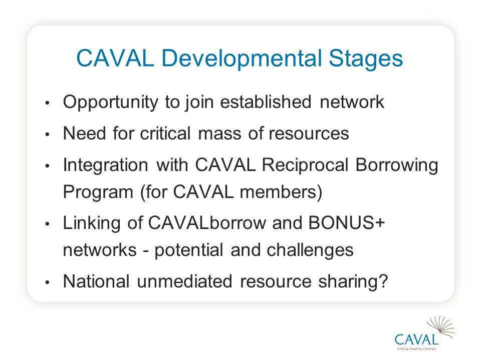 CAVAL Developmental Stages Opportunity to join established network Need for critical mass of resources Integration with CAVAL Reciprocal Borrowing Program (for CAVAL members) Linking of CAVALborrow and BONUS+ networks - potential and challenges National unmediated resource sharing?