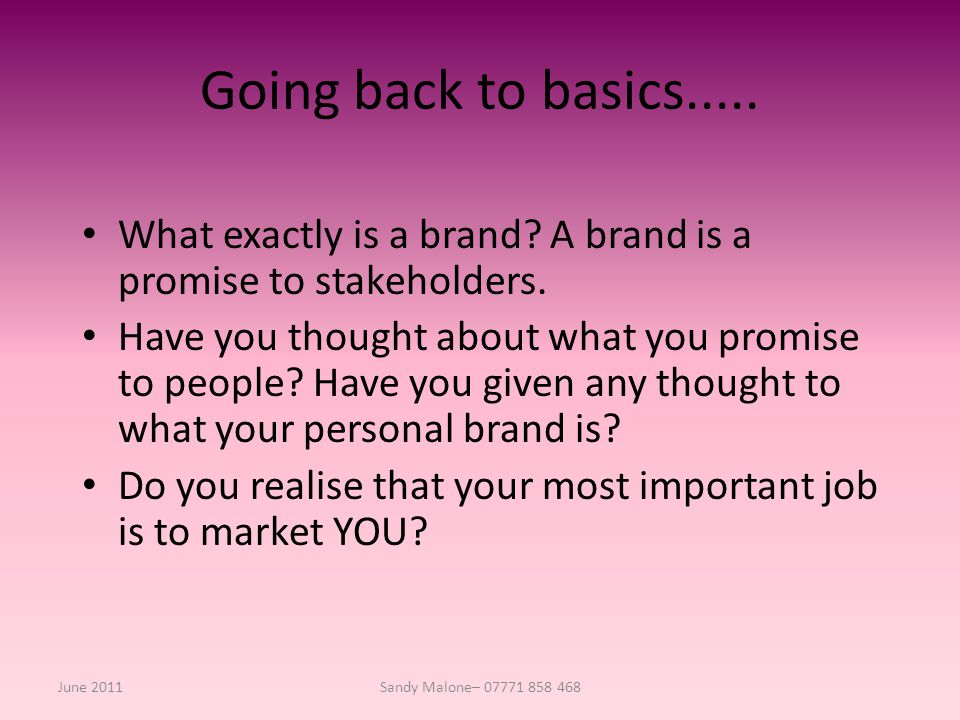 Going back to basics..... What exactly is a brand.