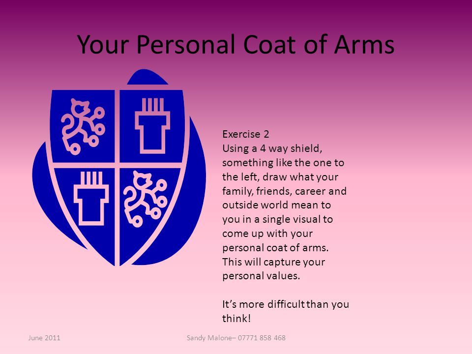 Your Personal Coat of Arms June 2011Sandy Malone– 07771 858 468 Exercise 2 Using a 4 way shield, something like the one to the left, draw what your family, friends, career and outside world mean to you in a single visual to come up with your personal coat of arms.