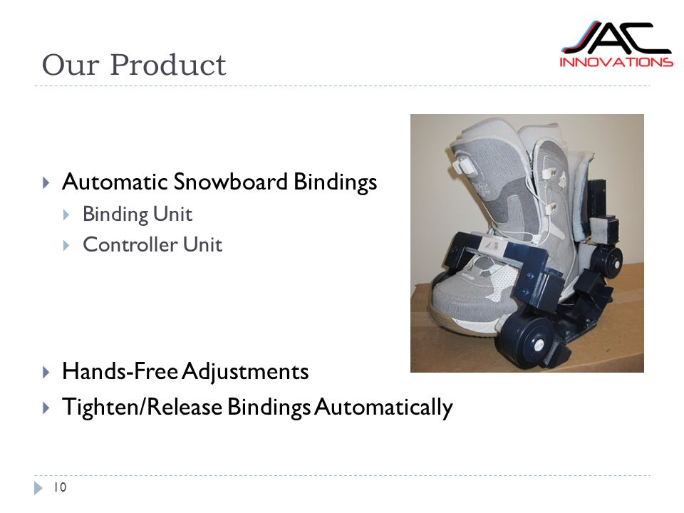 Our Product 10  Automatic Snowboard Bindings  Binding Unit  Controller Unit  Hands-Free Adjustments  Tighten/Release Bindings Automatically