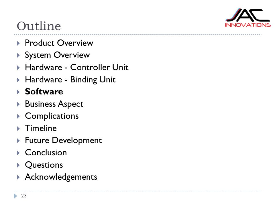 Outline 23  Product Overview  System Overview  Hardware - Controller Unit  Hardware - Binding Unit  Software  Business Aspect  Complications 