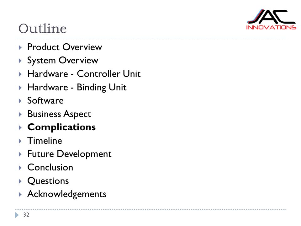 Outline 32  Product Overview  System Overview  Hardware - Controller Unit  Hardware - Binding Unit  Software  Business Aspect  Complications  Timeline  Future Development  Conclusion  Questions  Acknowledgements