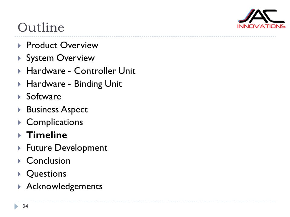 Outline 34  Product Overview  System Overview  Hardware - Controller Unit  Hardware - Binding Unit  Software  Business Aspect  Complications 