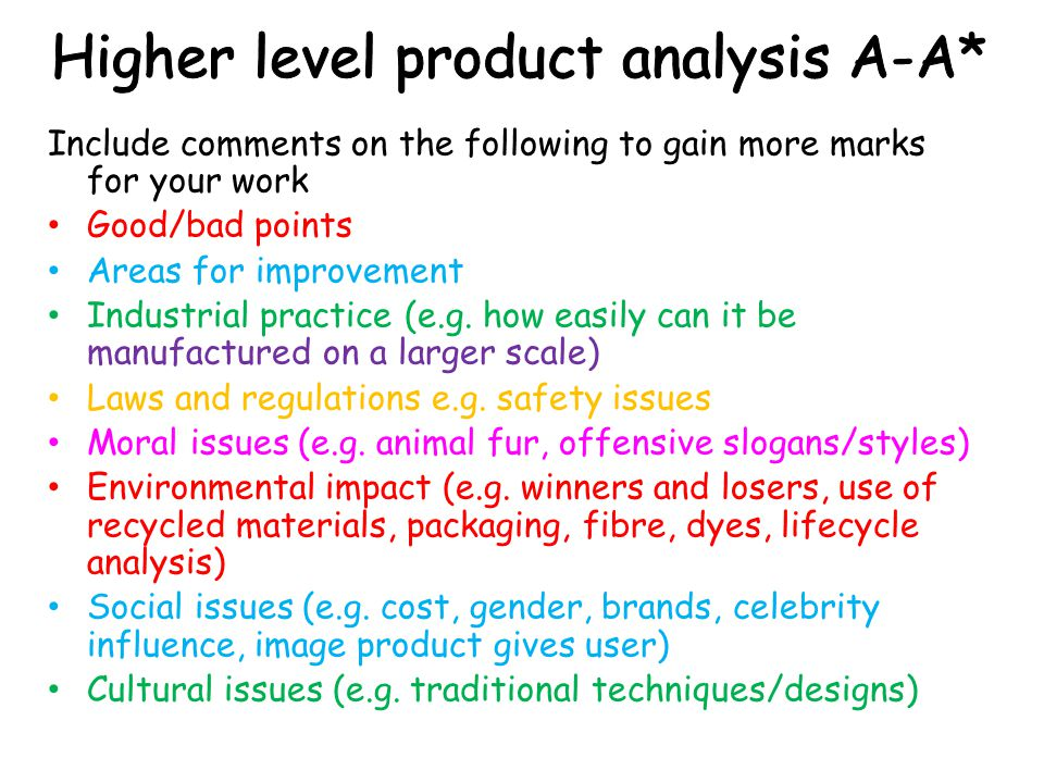 Product analysis Evaluation
