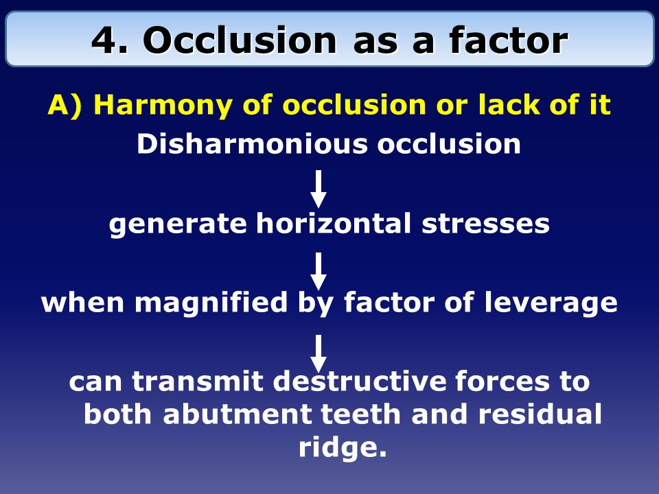 A) Harmony of occlusion or lack of it Disharmonious occlusion generate horizontal stresses when magnified by factor of leverage can transmit destructive forces to both abutment teeth and residual ridge.