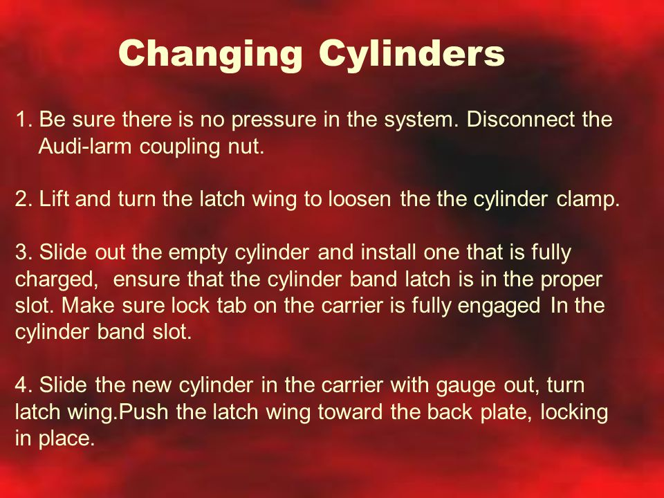 Changing Cylinders 1. Be sure there is no pressure in the system. Disconnect the Audi-larm coupling nut. 2. Lift and turn the latch wing to loosen the