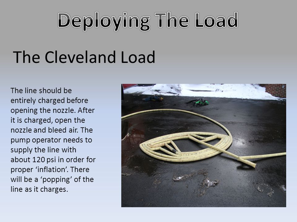 The Cleveland Load The line should be entirely charged before opening the nozzle. After it is charged, open the nozzle and bleed air. The pump operato