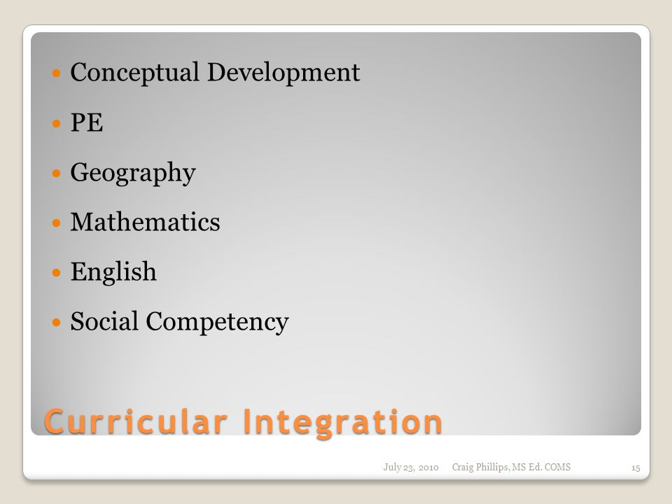 Curricular Integration Conceptual Development PE Geography Mathematics English Social Competency July 23, 2010Craig Phillips, MS Ed. COMS15