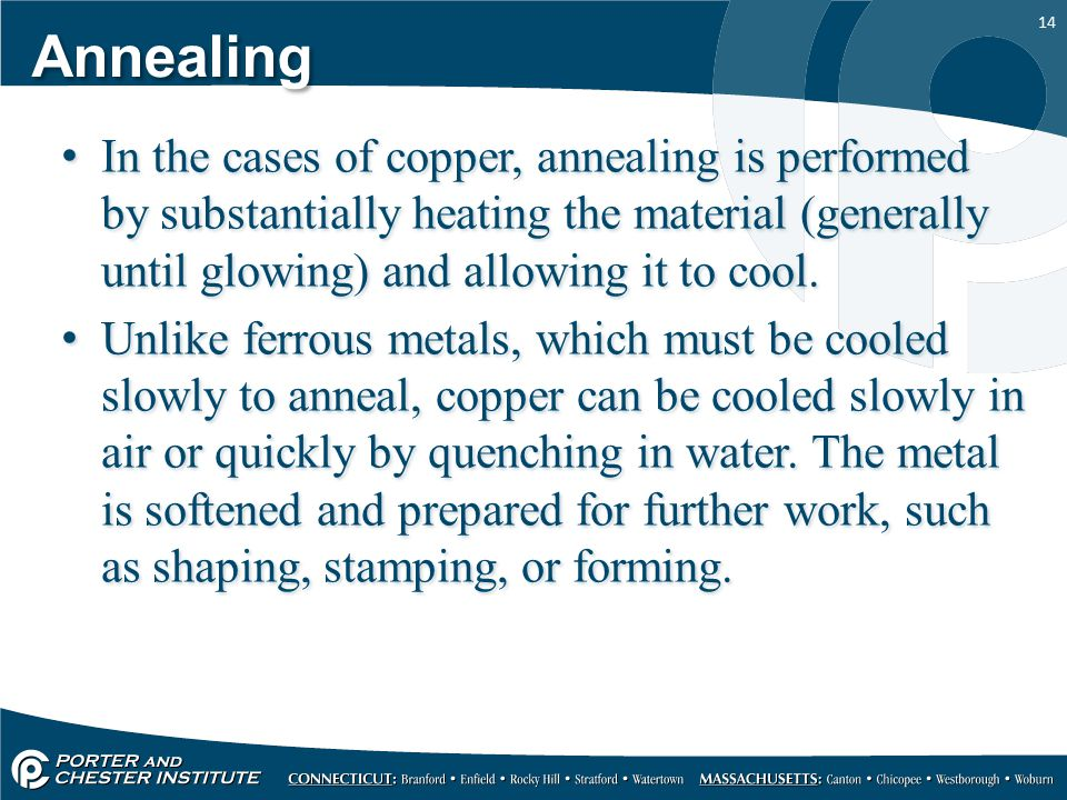 14 Annealing In the cases of copper, annealing is performed by substantially heating the material (generally until glowing) and allowing it to cool. U