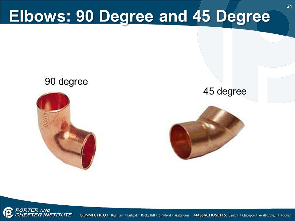 24 Elbows: 90 Degree and 45 Degree 90 degree 45 degree