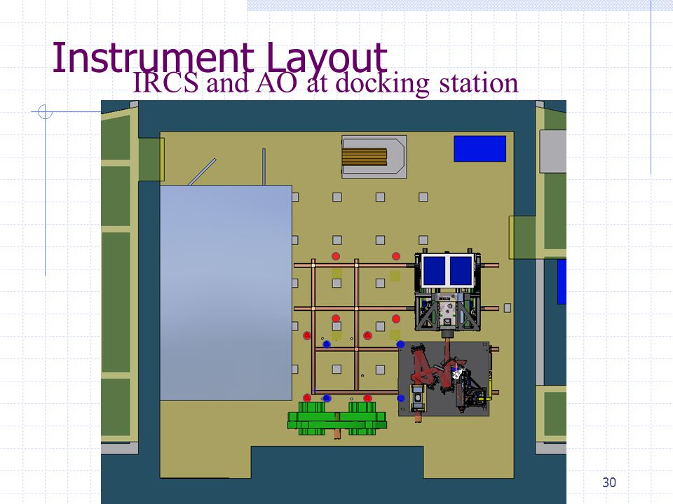 30 Instrument Layout IRCS and AO at docking station Laser Room IRCS AO