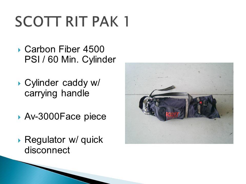  Carbon Fiber 4500 PSI / 60 Min. Cylinder  Cylinder caddy w/ carrying handle  Av-3000Face piece  Regulator w/ quick disconnect