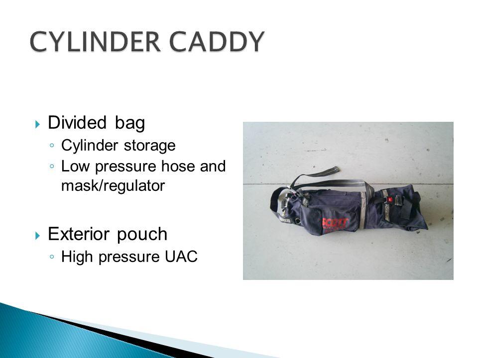  Divided bag ◦ Cylinder storage ◦ Low pressure hose and mask/regulator  Exterior pouch ◦ High pressure UAC