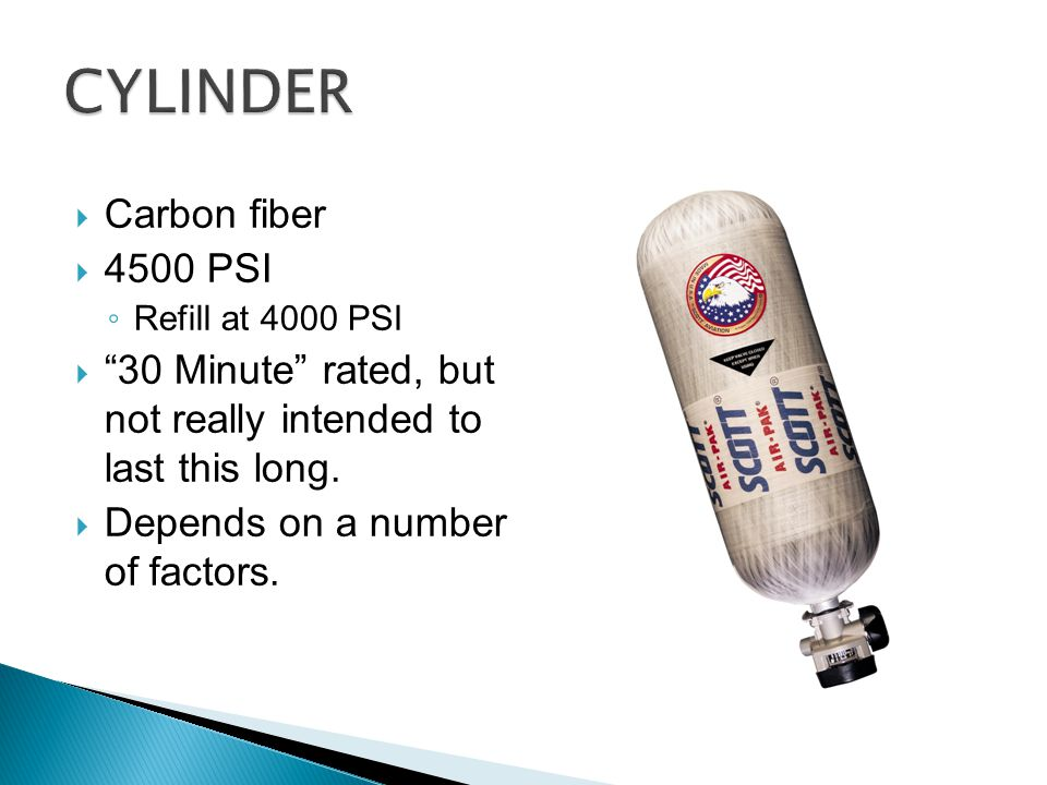 """ Carbon fiber  4500 PSI ◦ Refill at 4000 PSI  """"30 Minute"""" rated, but not really intended to last this long.  Depends on a number of factors."""