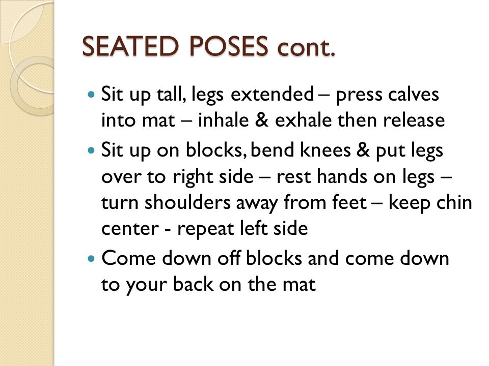 SEATED POSES cont.