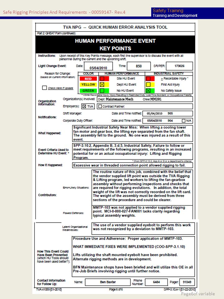 Safe Rigging Principles And Requirements - 00059147- Rev.4 Safety Training Training and Development Page6of variable