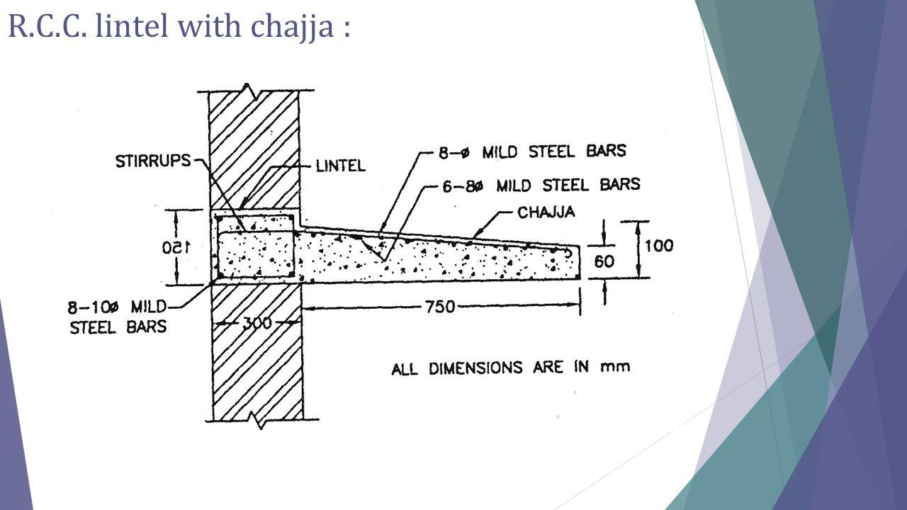 R.C.C. lintel with chajja :