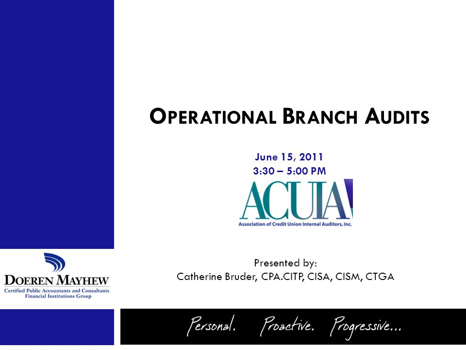 June 15, 2011 3:30 – 5:00 PM Presented by: Catherine Bruder, CPA.CITP, CISA, CISM, CTGA O PERATIONAL B RANCH A UDITS