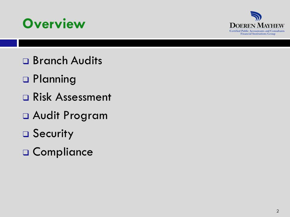 Overview  Branch Audits  Planning  Risk Assessment  Audit Program  Security  Compliance 2