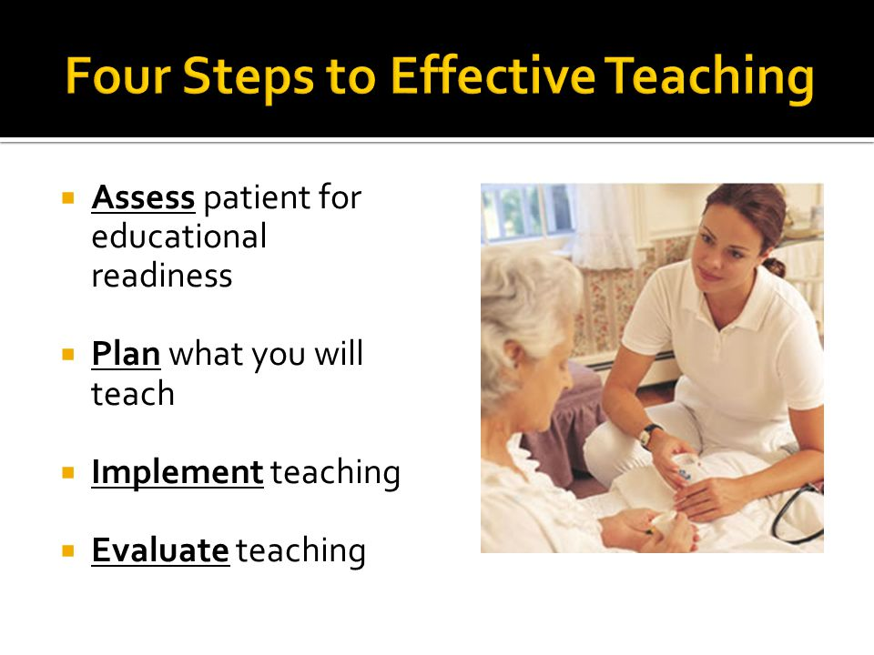  Assess patient for educational readiness  Plan what you will teach  Implement teaching  Evaluate teaching