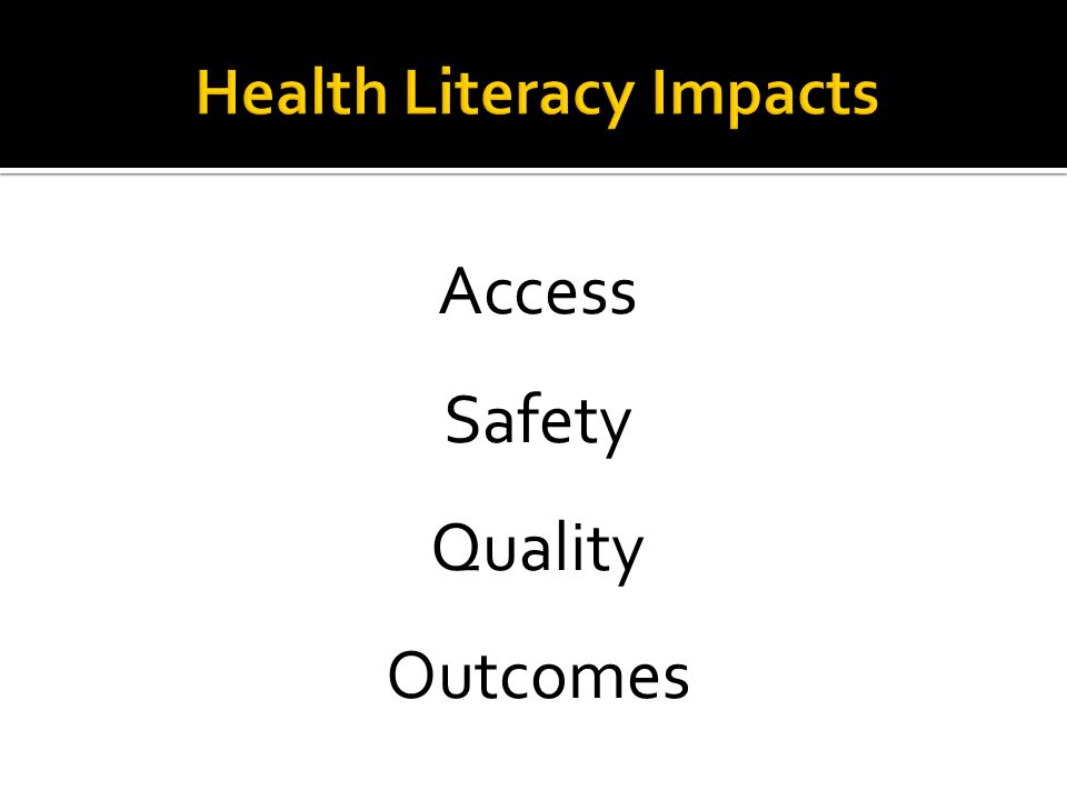 Health Literacy results from the National Assessment of Adult Literacy, US Dept of Education, 2003