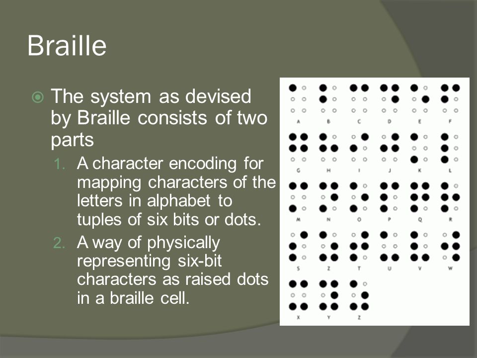 Braille  The system as devised by Braille consists of two parts 1. A character encoding for mapping characters of the letters in alphabet to tuples o