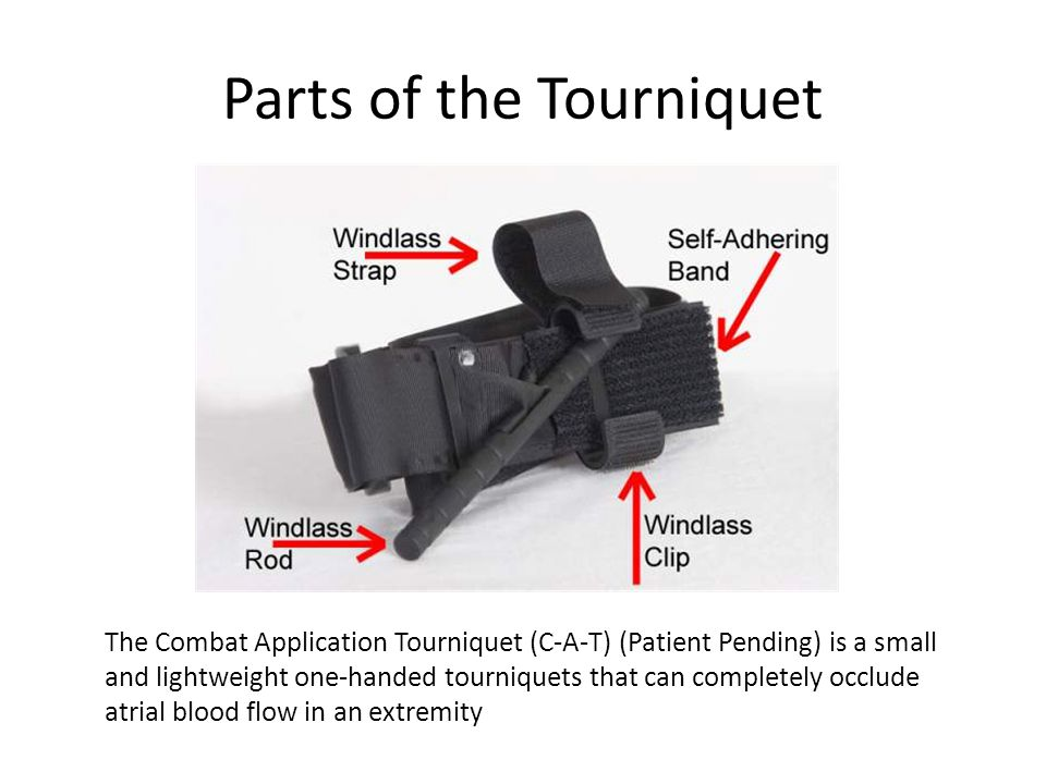 Parts of the Tourniquet The Combat Application Tourniquet (C-A-T) (Patient Pending) is a small and lightweight one-handed tourniquets that can complet