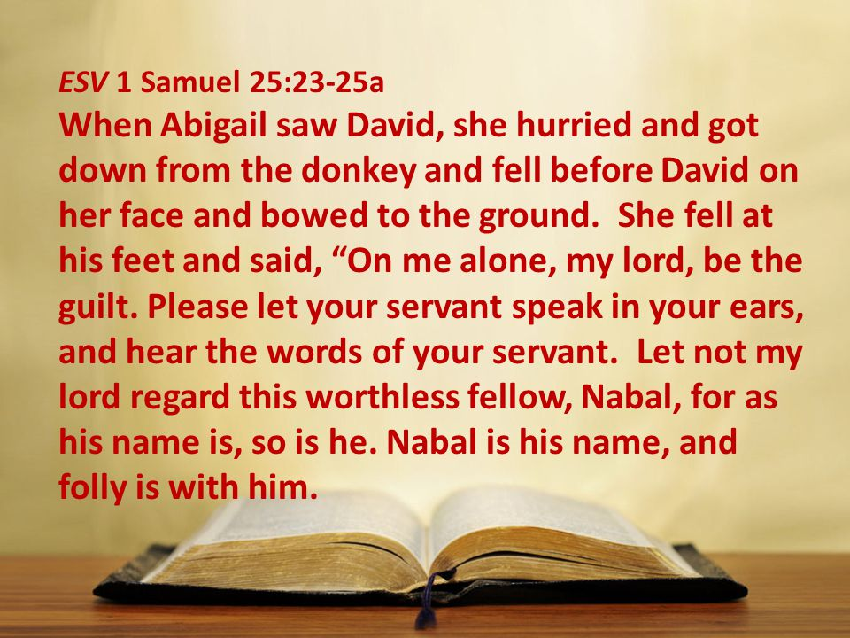 ESV 1 Samuel 25:23-25a When Abigail saw David, she hurried and got down from the donkey and fell before David on her face and bowed to the ground.