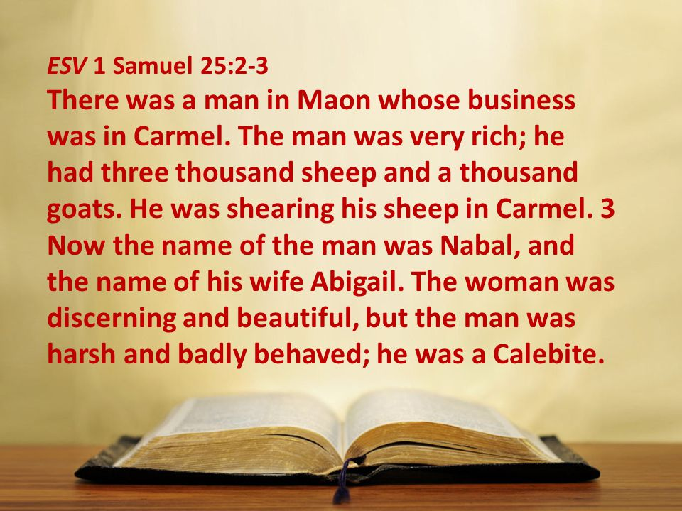 ESV 1 Samuel 25:2-3 There was a man in Maon whose business was in Carmel.