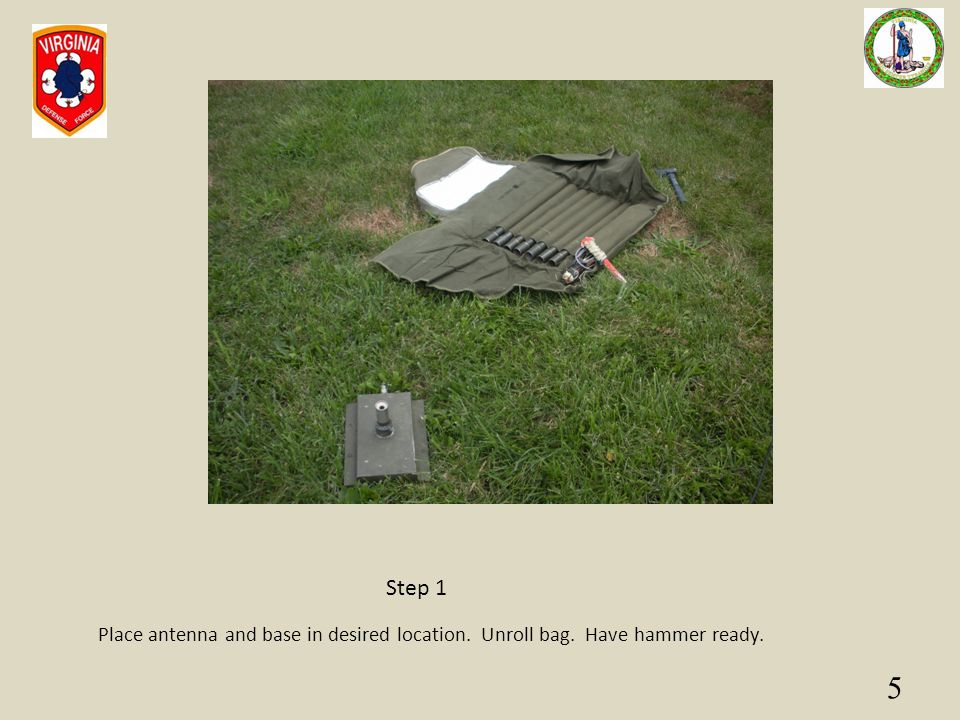 5 Place antenna and base in desired location. Unroll bag. Have hammer ready. Step 1